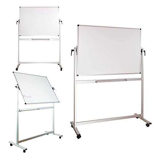 Lockways Reversible Magnetic Mobile Whiteboard - 48 x 36 Double Sided Dry Erase Whiteboard, Office Dry Erase Board 4 X 3, Anti-Scratch Powder Coating Aluminum Frame U12415211425 for Office & School