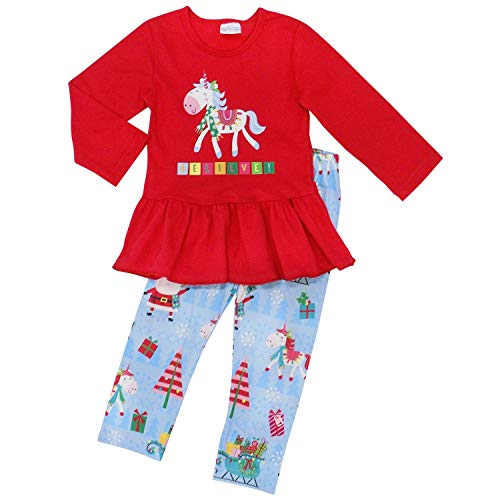 So Sydney Toddler 2 Pc Christmas Ruffle Pant Tunic Top Holiday Girls Boutique Clothing Outfit (XL (6), Believe Unicorn)