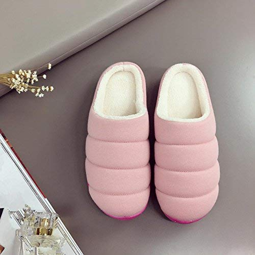1 JaHGDU Ladies Casual Slippers Indoors to Keep Warm in Autumn and Winter Cotton Slippers Light Pink Medium for Women