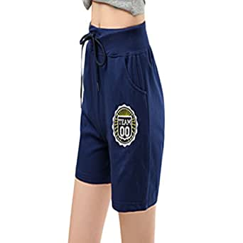 Miaokalin Womens Casual Candy Color Plus Size Sport Elastic Cotton Shorts M Navy blue
