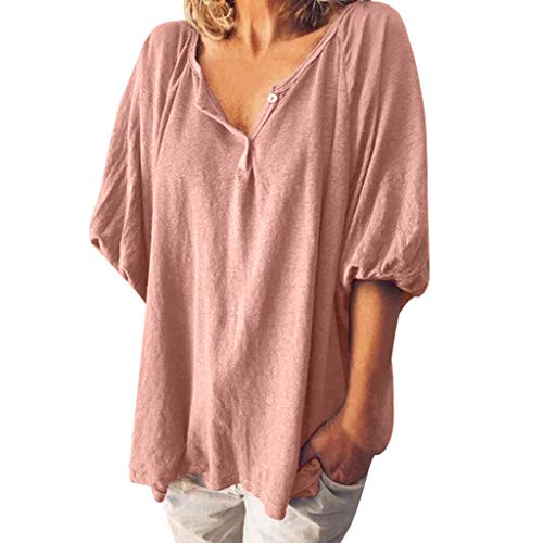 Aniywn Women Basic Tunic Pullover Blouse Casual Half Sleeve Loose Solid Color V Neck Tops T-Shirt - Monogram Boutique Custom