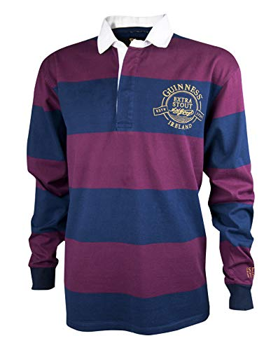 GUINNESS Wine and Navy Striped Rugby Jersey,Navy & Wine,XX-Large -