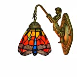 Vintage Tiffany Style Wall Light - 6-Inch Pastoral Stained Glass Bedside Wall Lamp Goddess Base Sconce for Bedroom Living Room Hallway - E27 - Dragonfly