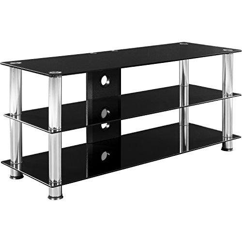STILISTA® TV Rack Glas Tisch in Schwarzglas-Optik, 110 x 50 x 40 cm, 8mm Sicherheitsglas