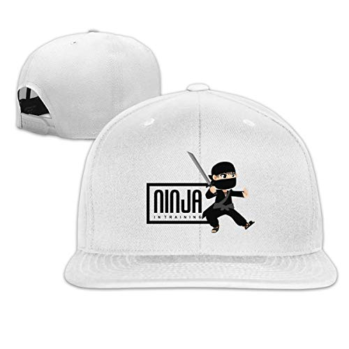 Fashion Cool Ninja in Training Warrior Samurai Unisex Flat Baseball Cap for Outdoor or Indoor White]()