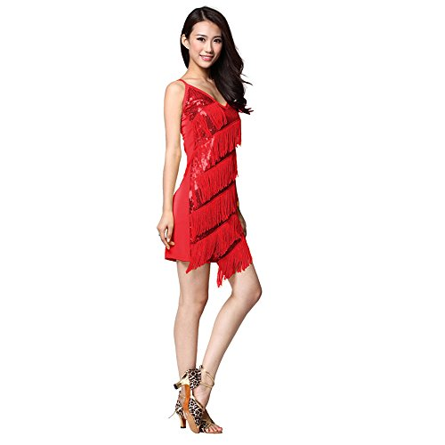 Latin Dance Dotting Cloth Sling Dress Ballroom Tassels Skirt Competition Prom Wear - red (Competition Dance Costume For Sale)