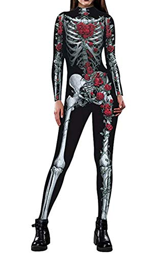 Idgreatim Women Sexy Halloween Cosplay Costumes Rose Bone Pattern Skinny Catsuit Jumpsuit Overalls for Dead Parades L -