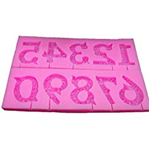 Houron 0 to 9 Numbers 3D Shaped Fondant Chocolate Candy Making Mold Cake Decorating Tool Pink
