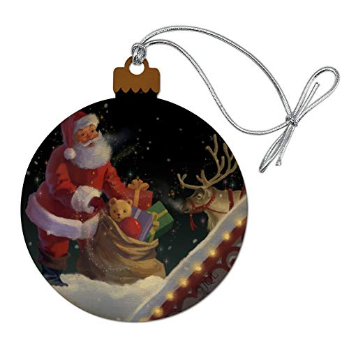 GRAPHICS & MORE Christmas Holiday Santa Rooftop Magic Wood Christmas Tree Holiday Ornament