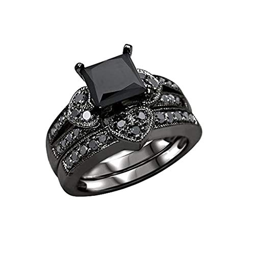 Haluoo 2-in-1 Wedding Band, Women's 2 PCS Princess Cut CZ Bridal Engagement Wedding Ring Set Halo Eternity Love Anniversary Promise Ring Cubic Zirconia 925 Sterling Silver Ring Sets (9, Black)