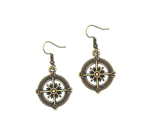 Meiysh Gothic Lolita Retro Steampunk Nautical Pirate Compass Earrings Charm