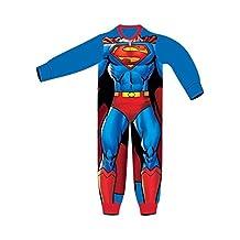 Boys Kids All In One Superman Soft Onesie Pyjamas Character Childrens Nightwear Warm