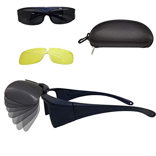 Auto Outdoor Polarized Driving Glasses, Multi-functional Sunglasses for Day and Night with Switchable Night Vision Lenses, 100% UV400 protection, Fits-over Prescription Eyewear for Men and ()