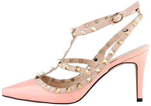 Calaier Mujer Casnowman Tacón De Aguja 8CM Sintético Hebilla Sandalias de vestir Zapatos Rosa