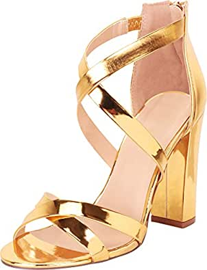 Cambridge Select Women's Crisscross Strappy Chunky Block High Heel Sandal Gold Size: 5