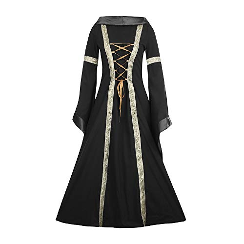 Halloween Women Medieval Dress Renaissance Lace Up Vintage Style Gothic Dress Floor Length Women Hooded Cosplay Dresses Retro (Black B, L) ()