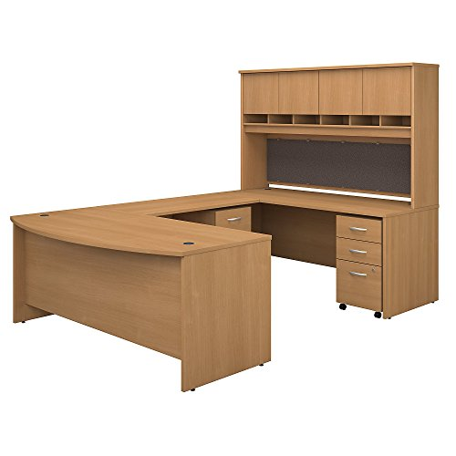 Bush Business Furniture 72W Bow Front U Shaped Desk with Hutch and Storage in Light Oak