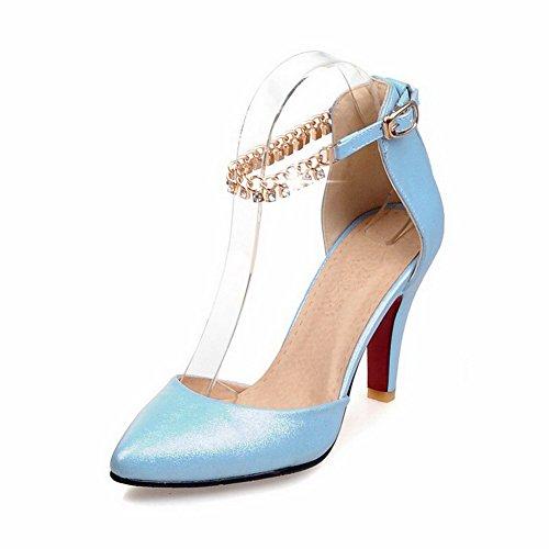 AllhqFashion Damen Spitz Zehe Hoher Absatz Weiches Material Rein Schnalle Pumps Schuhe Blau