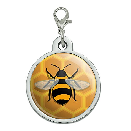 Honeycomb Dog - GRAPHICS & MORE Bee on Honeycomb Chrome Plated Metal Pet Dog Cat ID Tag - Large