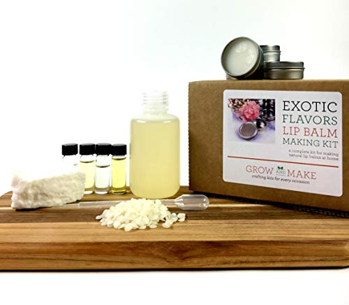 Lip Balm Making Kit with exotic flavors (with tins) makes 12 lip balms