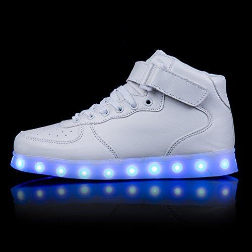 LED Farben Schuhe Blinkschuhe Kinder 7 Turnschuhe Aufladen Sneaker Herren USB FLARUT Damen Sport Leuchtende Leuchtschuhe Light Licht up Weiß RFxEAA