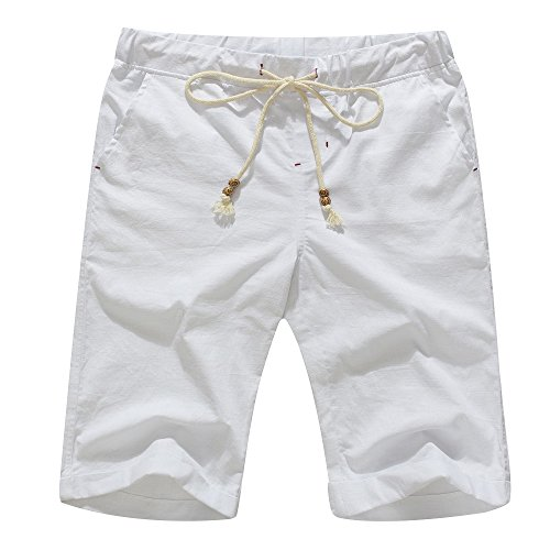 Janmid Men's Linen Casual Classic Fit Short White - Pleated Pant Never Iron