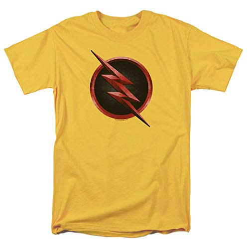 (The Flash TV Series Reverse Flash Logo T Shirt & Exclusive Stickers (Large) Yellow)