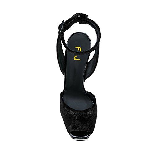 with Strap 4 Platform Black Evening Glitter Chunky Size 15 FSJ Ankle Women Peep Sandals Toe Heels US Shoes qcnFtR6wBx