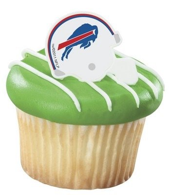 NFL Buffalo Bills Football Helmet Cupcake Rings - 24 pcs (Buffalo Bills Pencil)