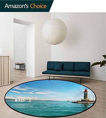 (RUGSMAT Lighthouse Modern Machine Washable Round Bath Mat,Day by The Seaside Sailboats Lighthouse Rocks Clear Sea Clouds Island Seascape Non-Slip Soft Floor Mat Home Decor,Diameter-35 Inch)