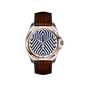 AIMS Christmas gift Mens gold Personalized Unique Fashion Design Waterproof Wrist Watch Art Deco Geometric - navy blue and gray Wristwatch