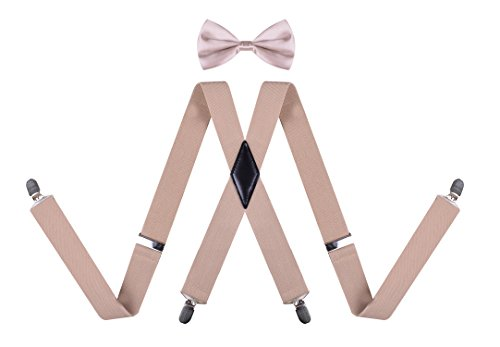 Mens Suspenders Adjustable Suspender Bow Tie Braces with Strong Clips Khaki