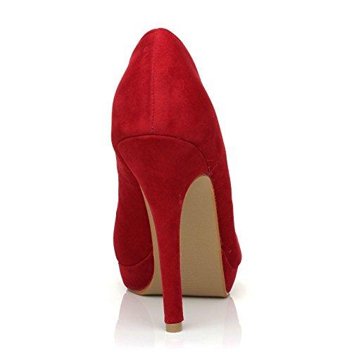 Effet EVE talons hauts Plateforme Rouge Chaussures daim à FqxqYrw4RB