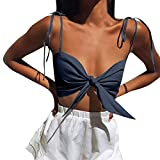 TWinmar -Women Crop Top Solid Off Shoulder Strapless Vest Sexy Bow Knot Tank Blouse Tee Shirt Navy