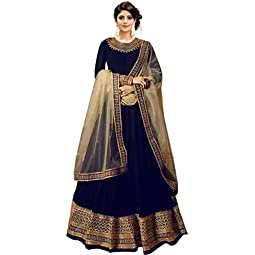 Kumbh Nath Women's Embroidered Taffeta Silk Anarkali Gown(Free Size_Dark Blue)