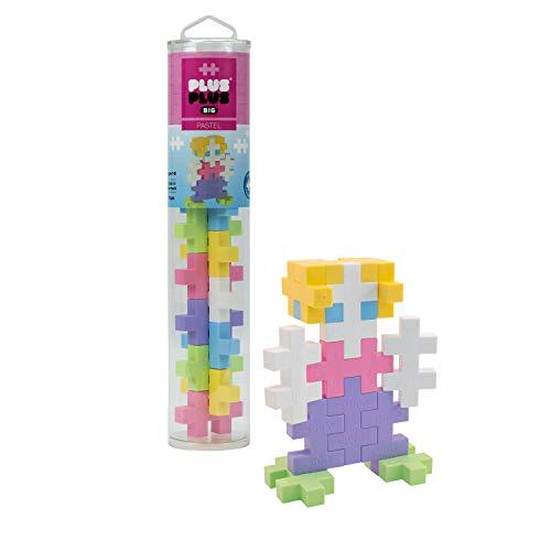 (Plus-Plus BIG - Preschool Construction Building Toy, Open Play Tube - 15 Piece - Pastel Color Mix)