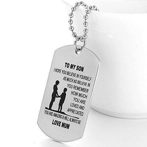 I Love My Son Inspirational Dog Tag Necklace-I HOPE YOU BELIEVE IN YOURSELF,AS MUCH AS I BELIEVE IN YOU (Mother to son)