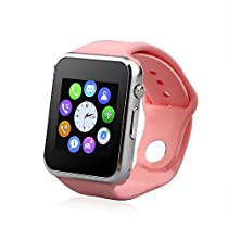 Smart Watch Phone /Bluetooth/Easy Connection/Make Calls/Support SIM/TF for Apple iPhone 5s/6/6s and Android 4.2 or Above SmartPhones (Pink)