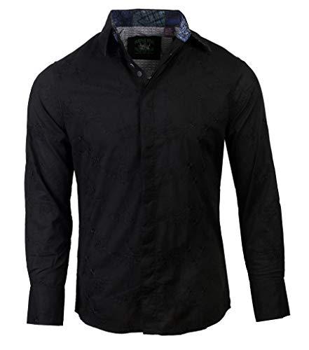 '3rd Stone from The Sun' Men's Long Sleeve 60's era Fabric Shirt Black 1108B (2XL)