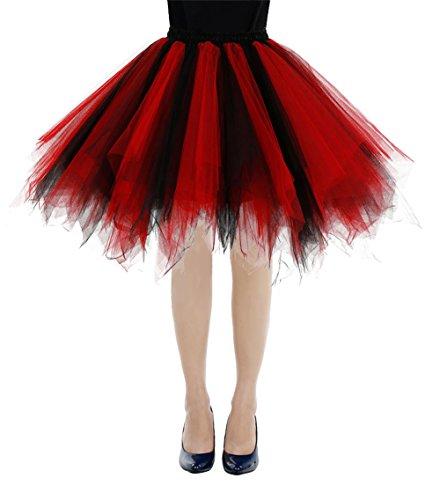 Rockabilly Mini Black Sottogonne 1950s red Retro Bbonlinedress Donna Sottovesti E Gonne Vintage 7qg16