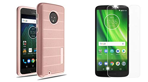 Dual Layer Armor Textured Anti-Slip Grip Phone Case Cover (Rose Gold) with Bubble-Free Tempered Glass Screen Protector and Atom Cloth for Moto G6 Play, Moto G Play 6th Gen, Moto G6 Forge (Bubbles Textured)
