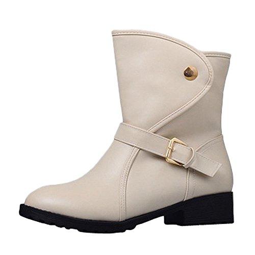 830961fa022d Mee Shoes Damen Niedrig kurzschaft runde Stiefel Beige - collie ...