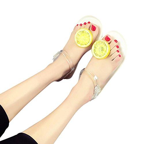 WINWINTOM Ojotas Sandalias Zapatos Mujer Frutas Chicas Plate Flip Flop Sandalias de Playa Blanco