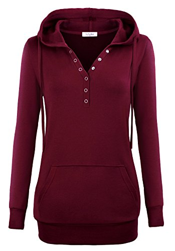 YaYa Bay Pullover Hoodies For Women, Womens Long Sleeve String Pullover Stylish V Neck Kangaroo Pouch Pocket Vintage Buttons Tunic Sweater Hoodie Medium (Bay Hoody)