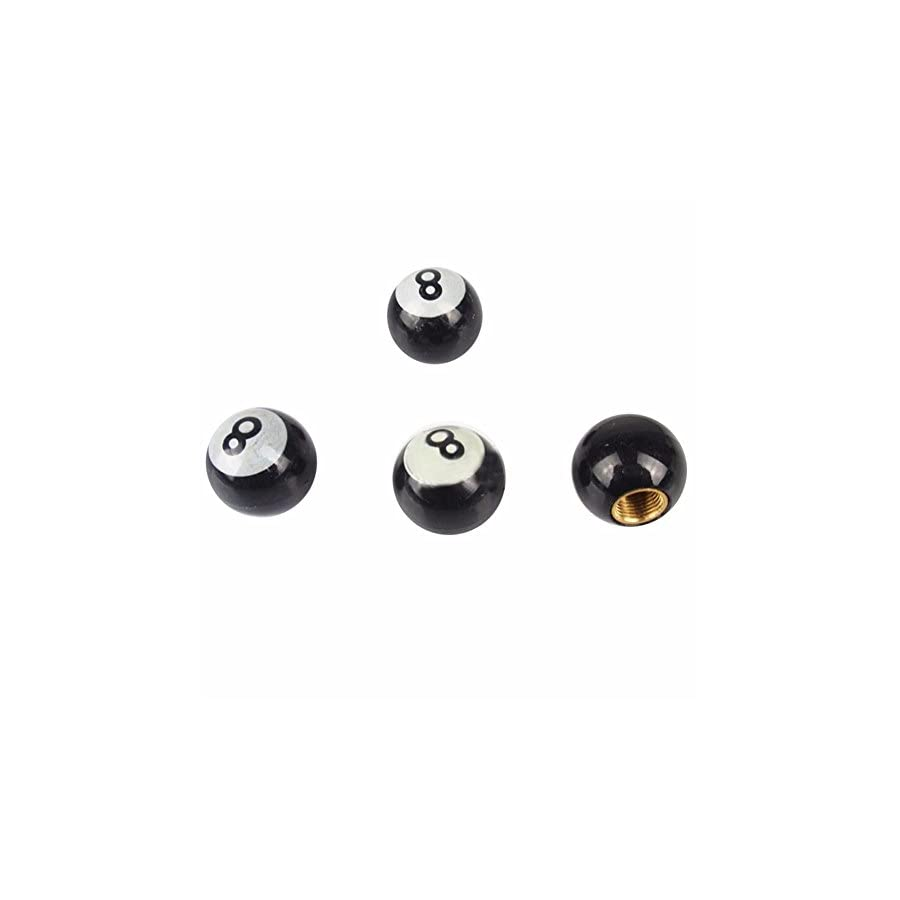 RoseSummer 4 Pcs Tire Air Valve Cap Wheel Dust Stems Number Eight Ball Caps