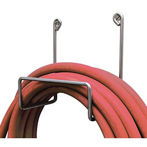 silver steel hose rack