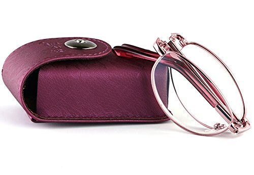 SOOLALA Womens Quality Oval Full Rimmed Folding Readers Compact Reading Glasses with Case, 1.5x