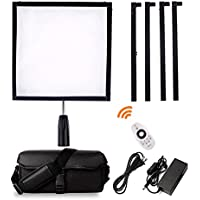 FOSITAN FL-3030 1x1/30x30cm Daylight LED Light Panel Mat, Lightweight Flexible Foldable 48W 256 LEDs 5500K Dimmable Photography Light Panel on Fabric with Dimmer and Hand Grip