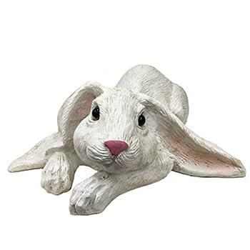 "Universal Sculpture Garden Peaceful Lying Down White Garden Rabbit Statue | Super Cutie Lop Garden Bunny Statue, 11.8"" X 8.8"" X 4"""