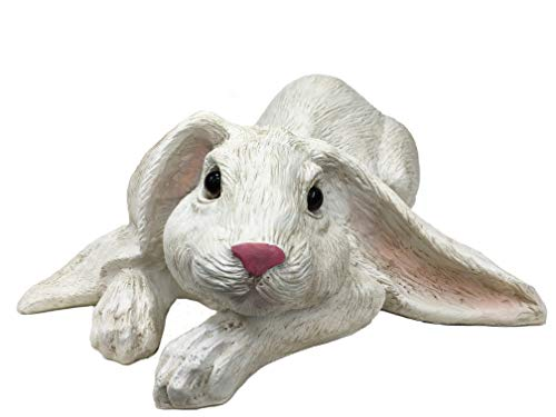 Universal Sculpture Garden Peaceful Lying Down White Garden Rabbit Statue | Super Cutie Lop Garden Bunny Statue, 11.8